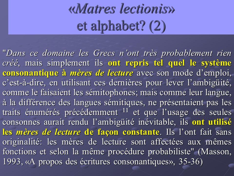 «Matres lectionis» et alphabet (2)