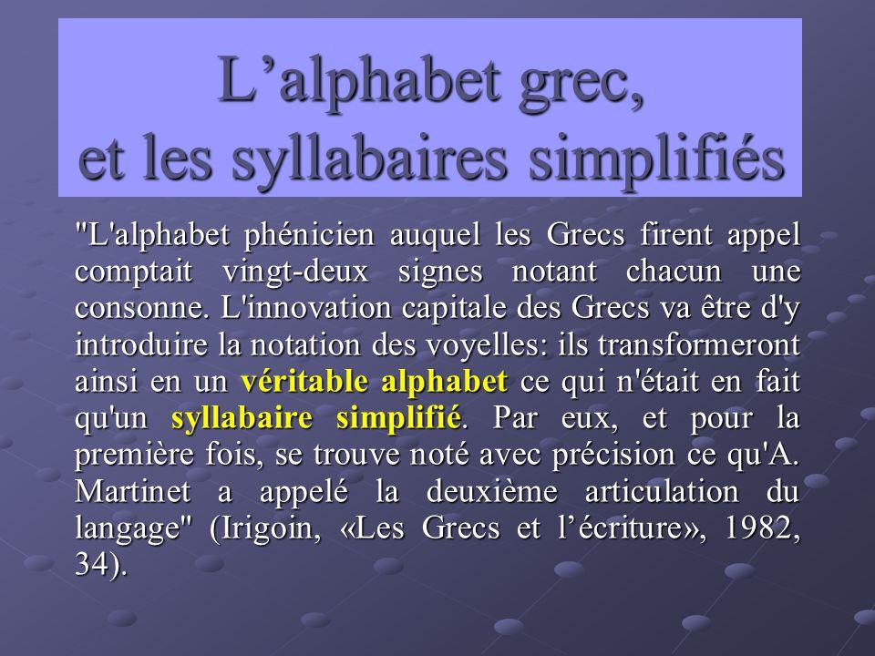 L'alphabet grec, et les syllabaires simplifiés