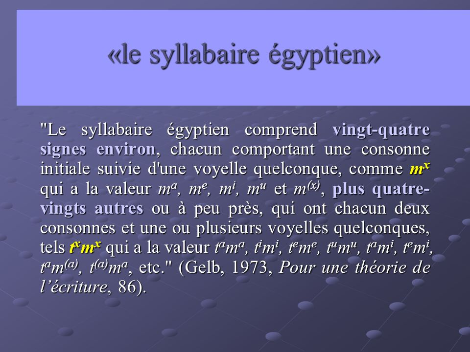 «le syllabaire égyptien»