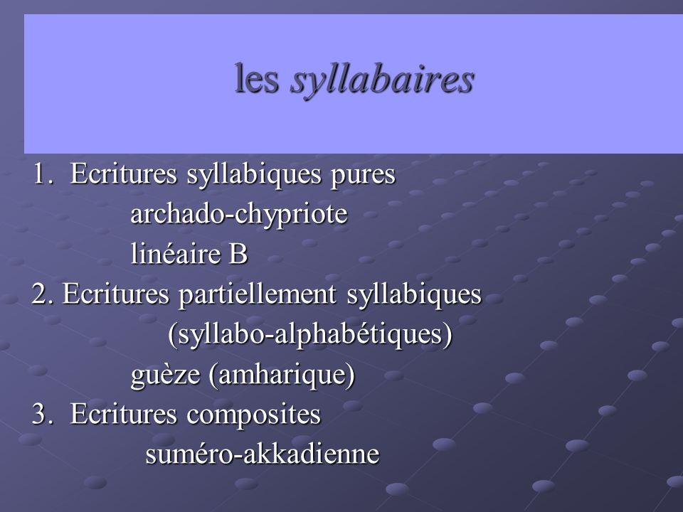 les syllabaires 1. Ecritures syllabiques pures archado-chypriote