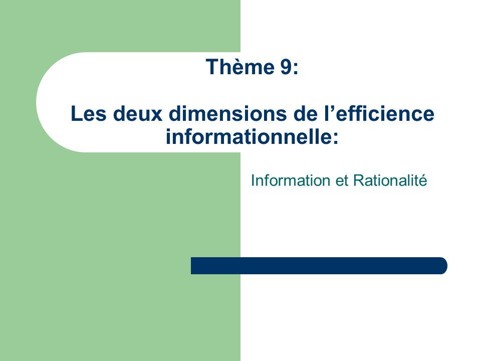 Thème 9: Les deux dimensions de l'efficience informationnelle: