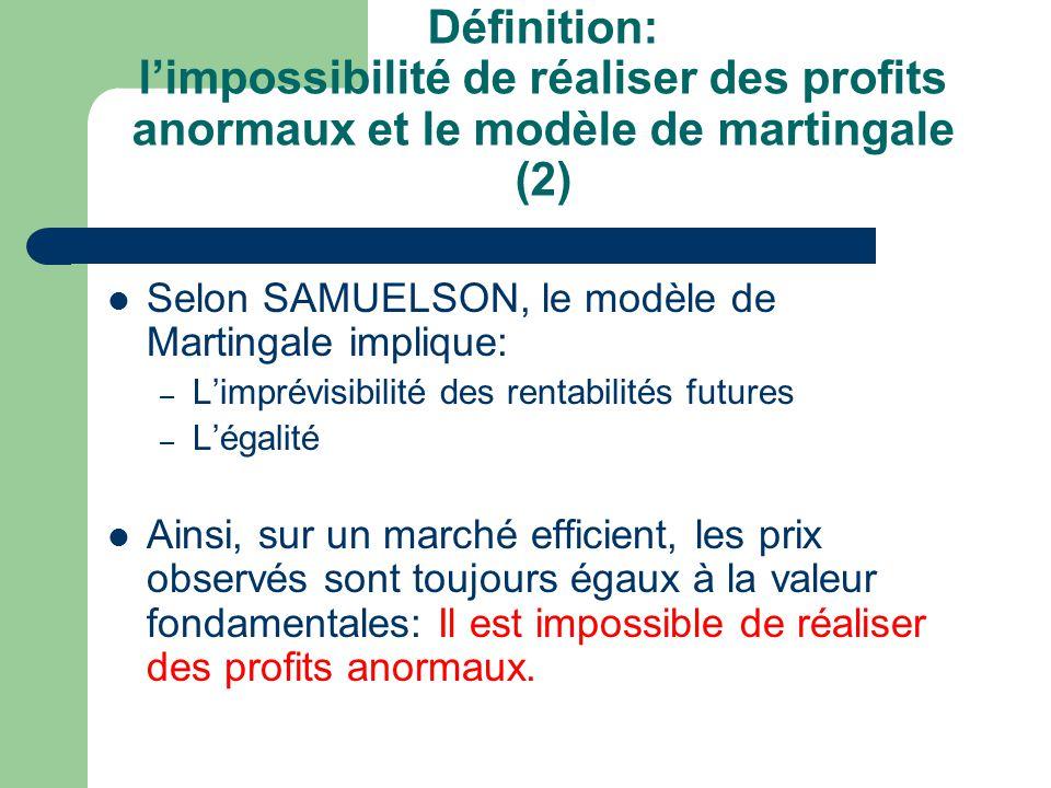 Définition: l'impossibilité de réaliser des profits anormaux et le modèle de martingale (2)