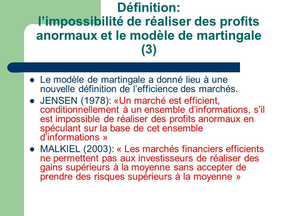 Définition: l'impossibilité de réaliser des profits anormaux et le modèle de martingale (3)