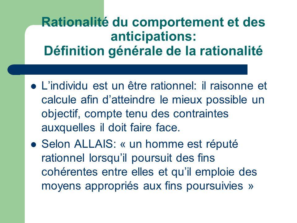 Rationalité du comportement et des anticipations: Définition générale de la rationalité