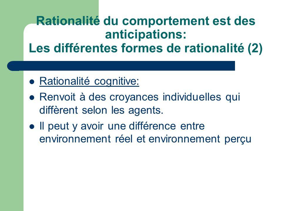 Rationalité du comportement est des anticipations: Les différentes formes de rationalité (2)