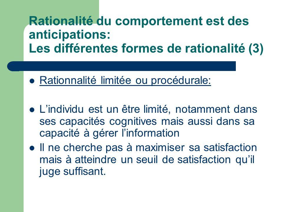 Rationalité du comportement est des anticipations: Les différentes formes de rationalité (3)