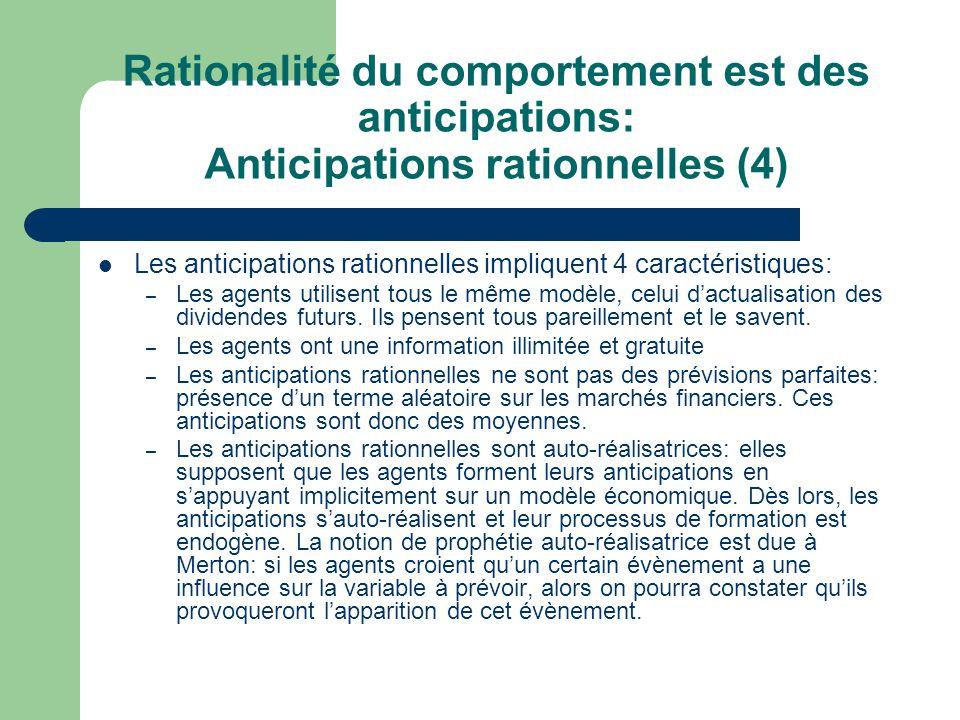 Rationalité du comportement est des anticipations: Anticipations rationnelles (4)