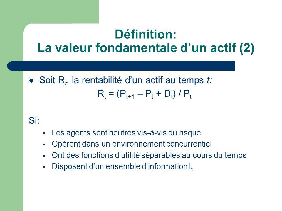 Définition: La valeur fondamentale d'un actif (2)