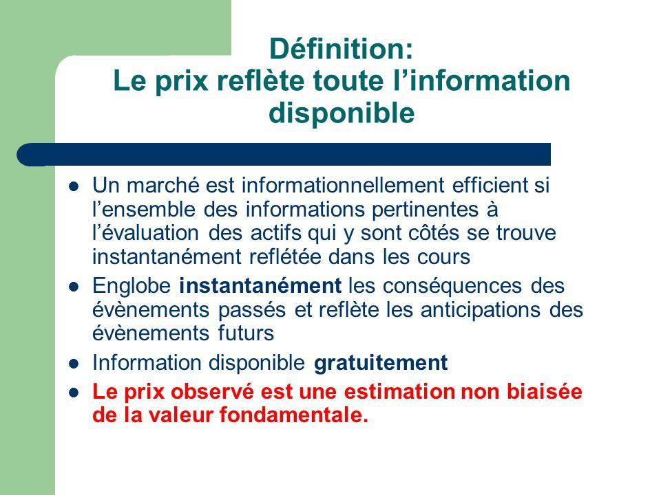 Définition: Le prix reflète toute l'information disponible