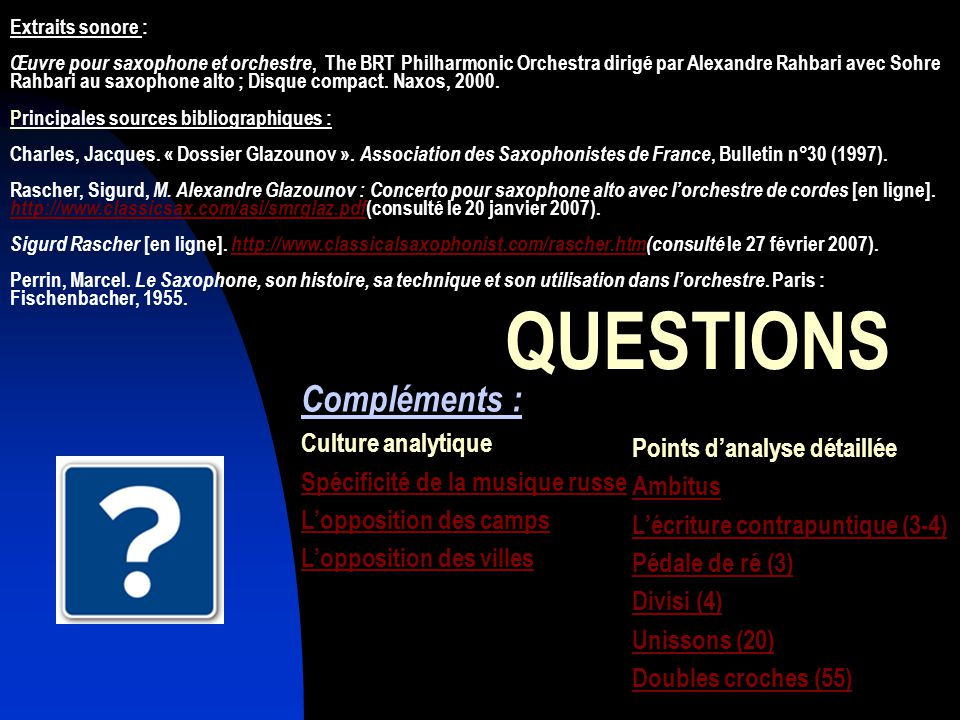 QUESTIONS Compléments : Culture analytique