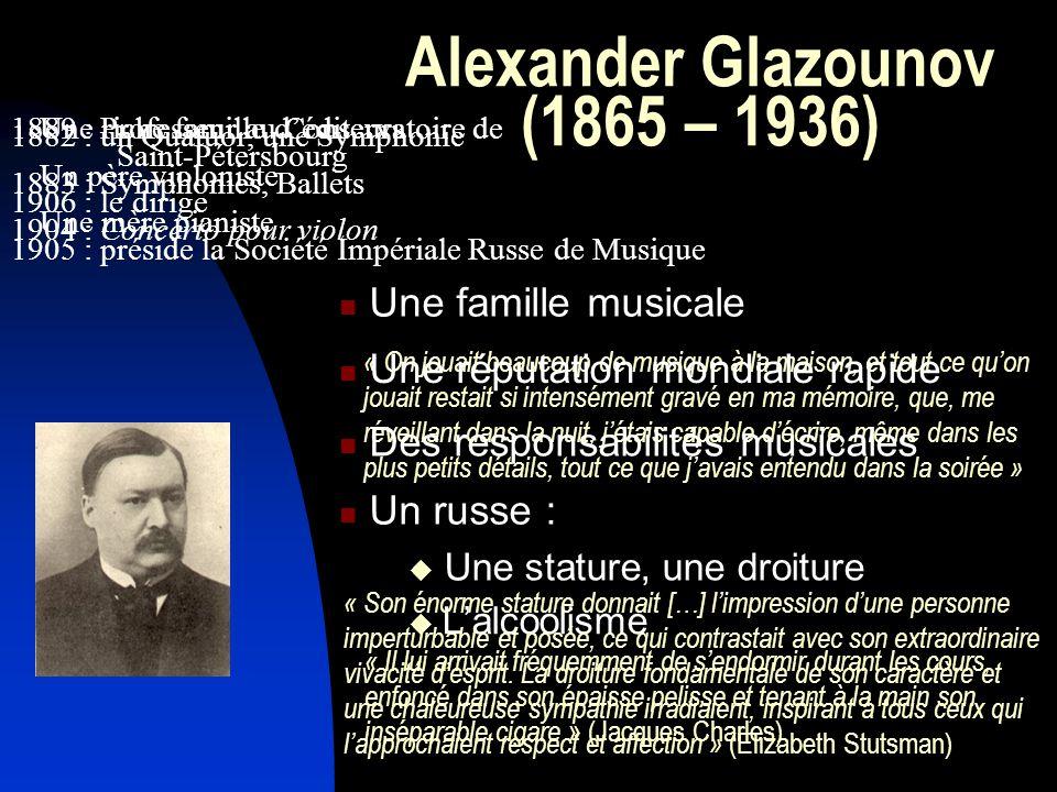Alexander Glazounov (1865 – 1936)