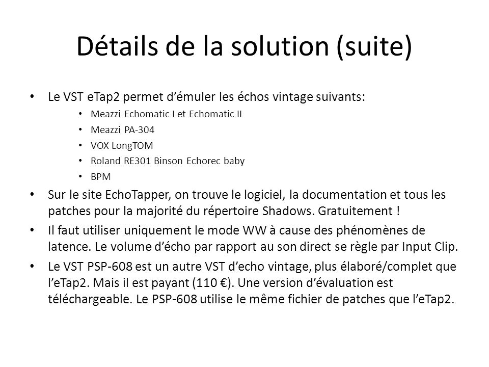 Détails de la solution (suite)
