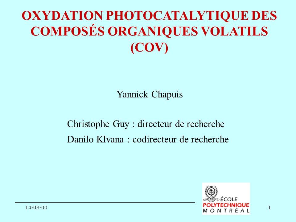 OXYDATION PHOTOCATALYTIQUE DES COMPOSÉS ORGANIQUES VOLATILS (COV)