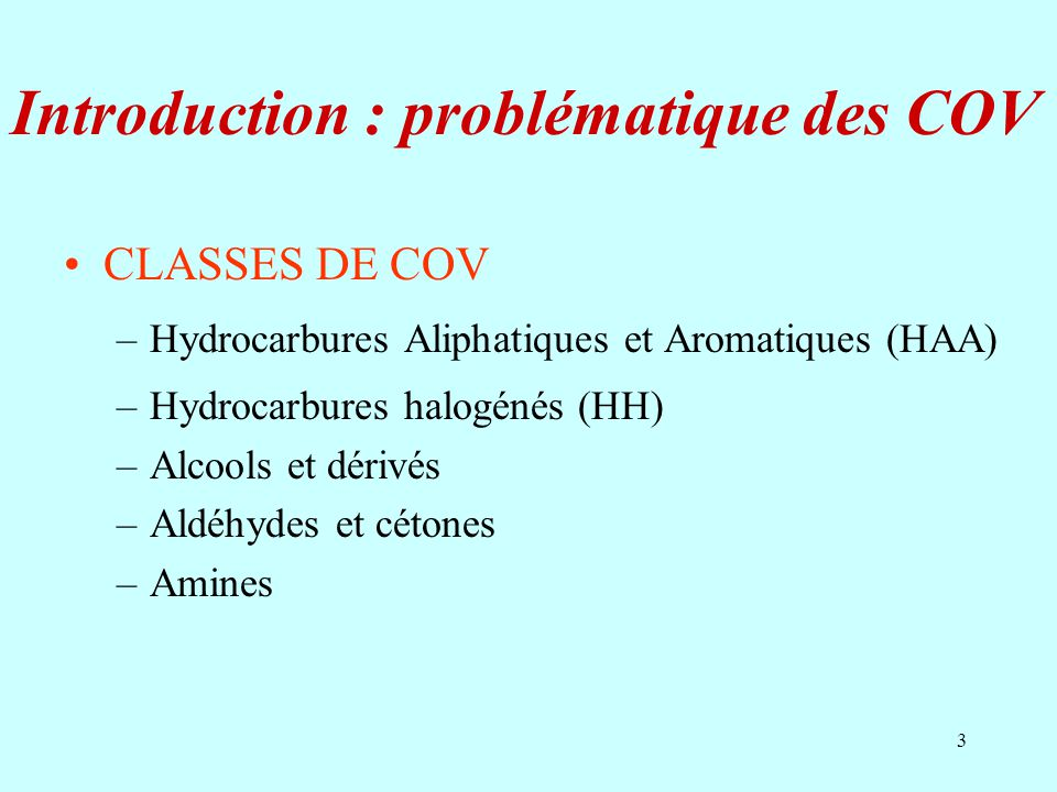 Introduction : problématique des COV