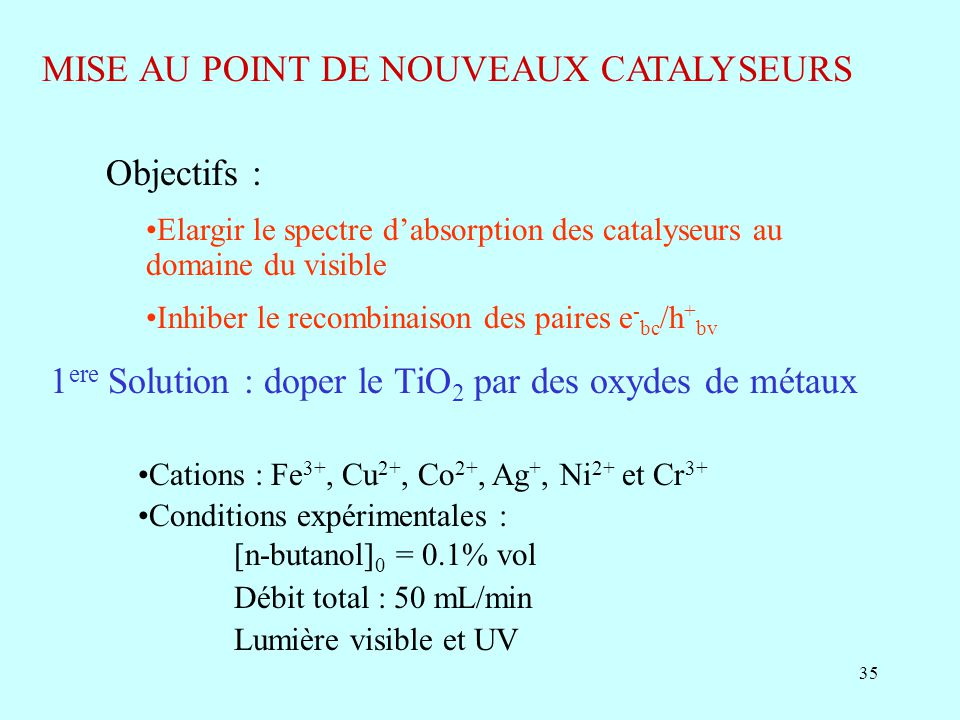 MISE AU POINT DE NOUVEAUX CATALYSEURS