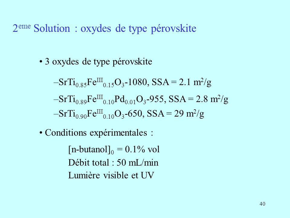 2eme Solution : oxydes de type pérovskite