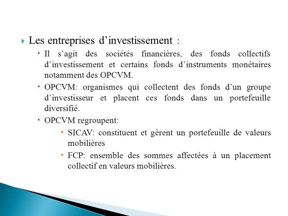 Les entreprises d'investissement :