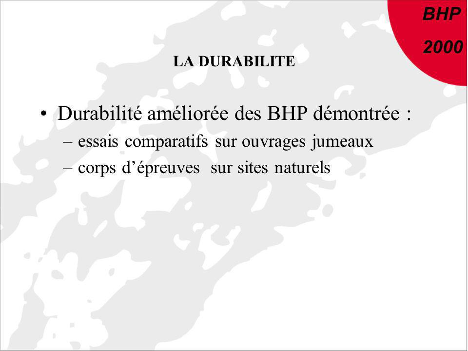 Durabilité améliorée des BHP démontrée :