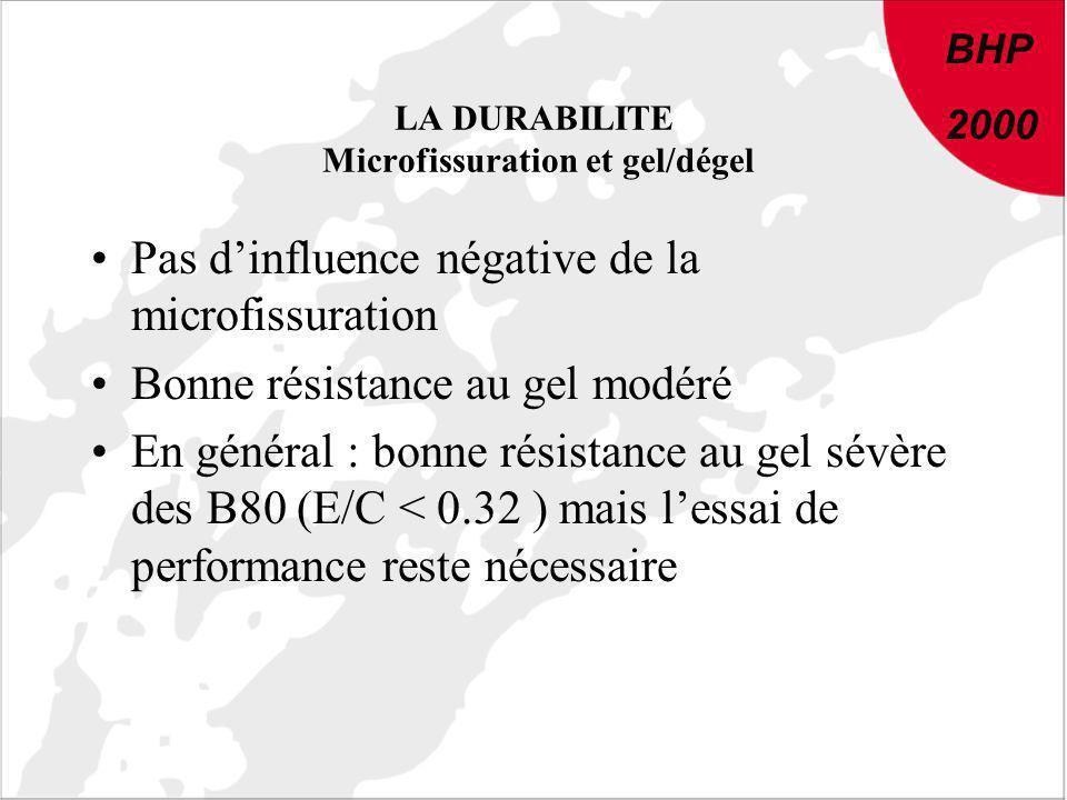LA DURABILITE Microfissuration et gel/dégel