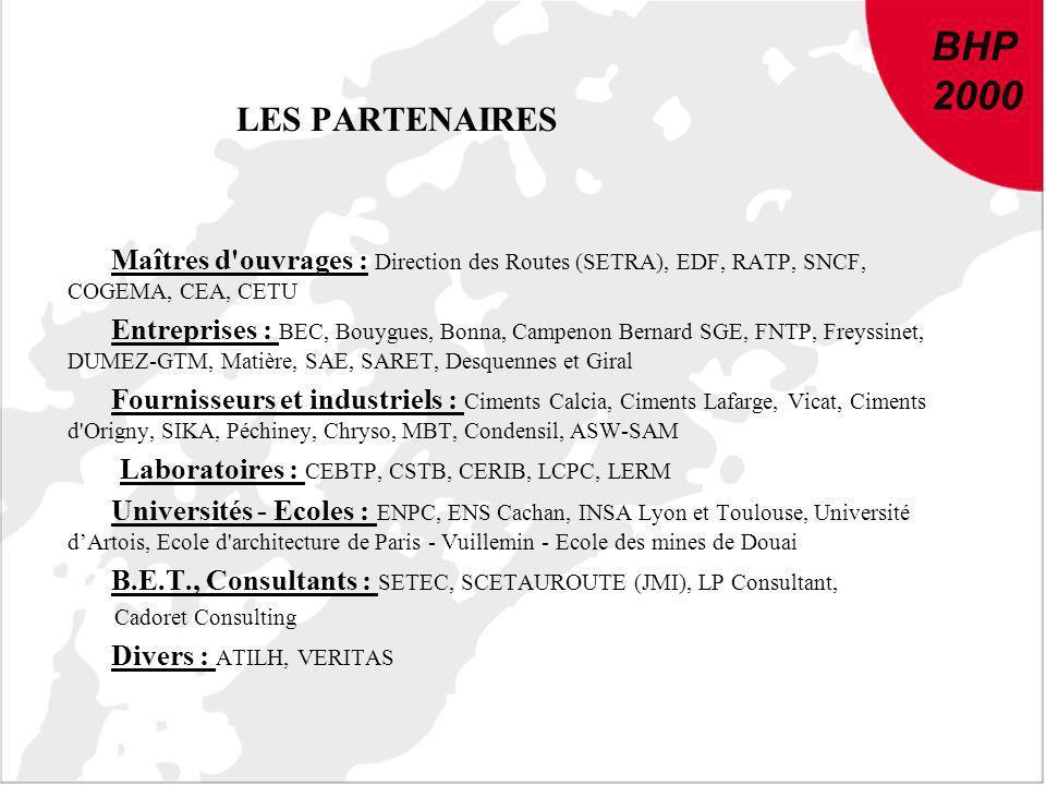 BHP 2000. LES PARTENAIRES. Maîtres d ouvrages : Direction des Routes (SETRA), EDF, RATP, SNCF, COGEMA, CEA, CETU.
