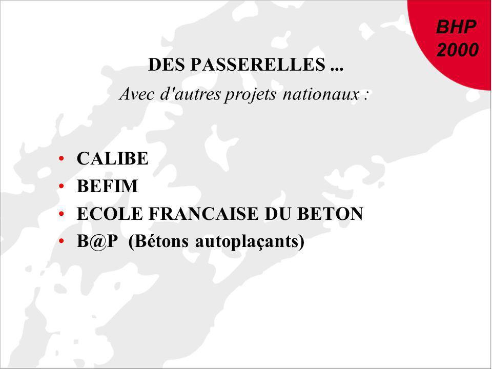 BHP 2000. DES PASSERELLES ... Avec d autres projets nationaux : CALIBE. BEFIM. ECOLE FRANCAISE DU BETON.