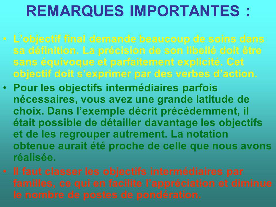 REMARQUES IMPORTANTES :