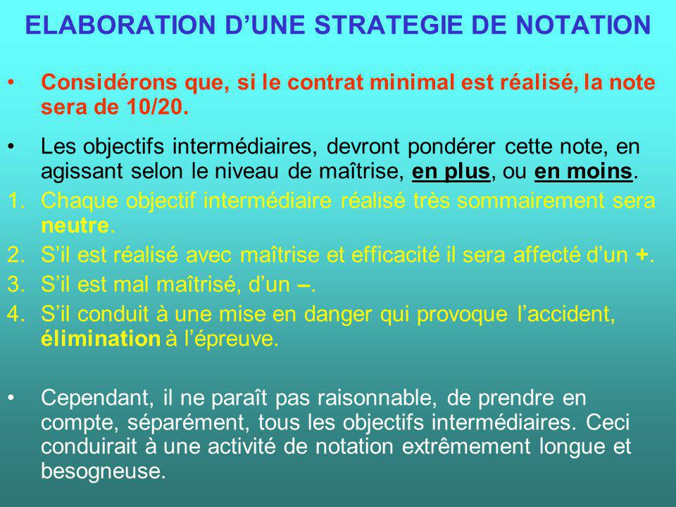 ELABORATION D'UNE STRATEGIE DE NOTATION