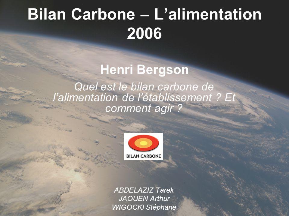 Bilan Carbone – L'alimentation 2006 Henri Bergson
