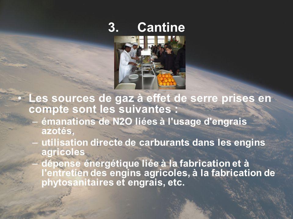 3. Cantine Les sources de gaz à effet de serre prises en compte sont les suivantes : émanations de N2O liées à l usage d engrais azotés,