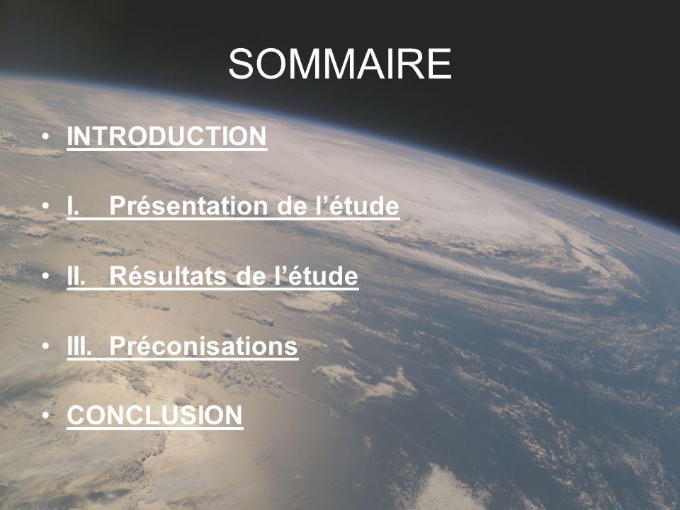 SOMMAIRE INTRODUCTION I. Présentation de l'étude