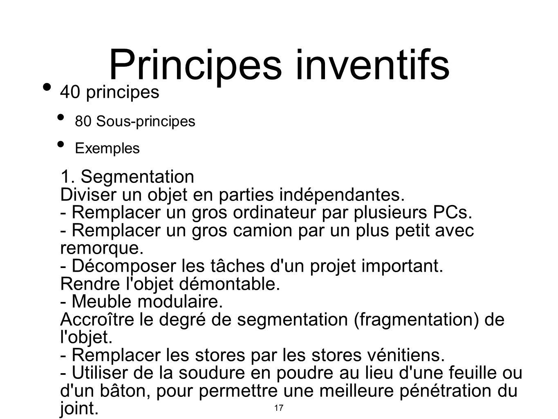 Principes inventifs 40 principes