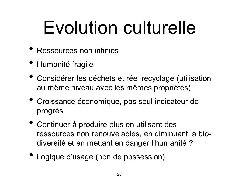 Evolution culturelle Ressources non infinies Humanité fragile
