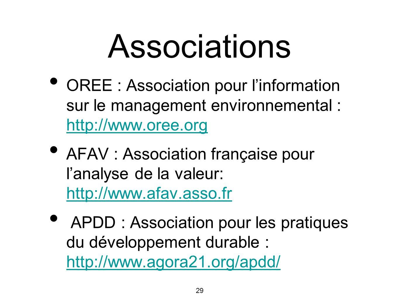 Associations OREE : Association pour l'information sur le management environnemental : http://www.oree.org.