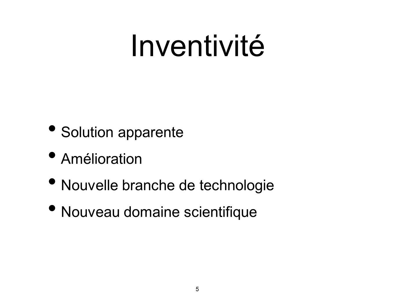 Inventivité Solution apparente Amélioration