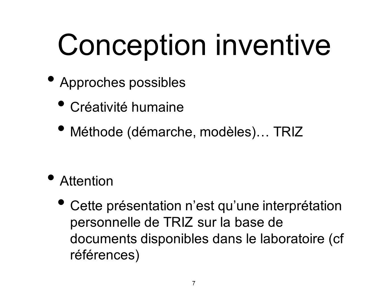 Conception inventive Approches possibles Créativité humaine