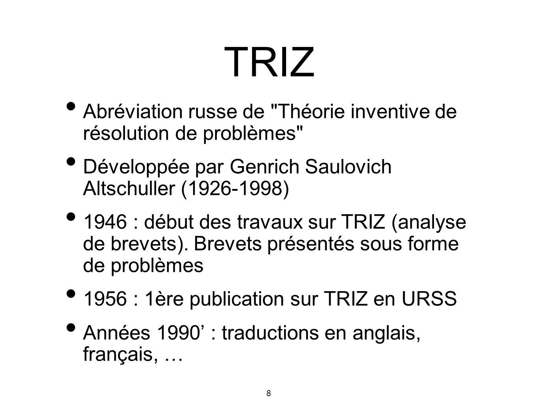 TRIZ Abréviation russe de Théorie inventive de résolution de problèmes Développée par Genrich Saulovich Altschuller (1926-1998)