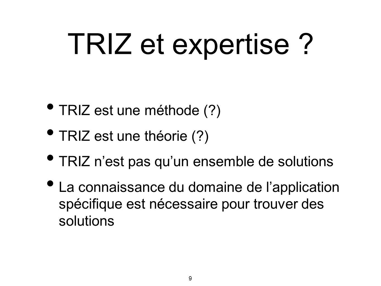 TRIZ et expertise TRIZ est une méthode ( ) TRIZ est une théorie ( )