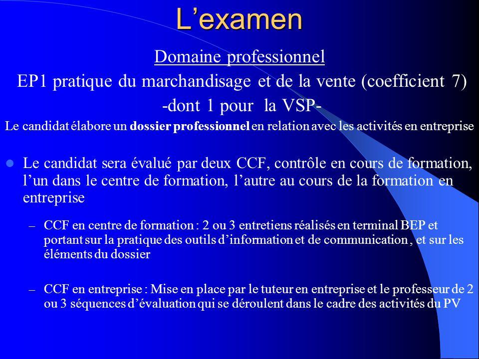 L'examen Domaine professionnel