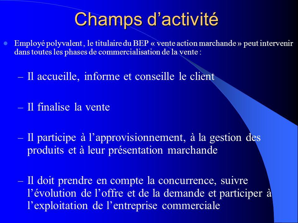 Champs d'activité Il accueille, informe et conseille le client