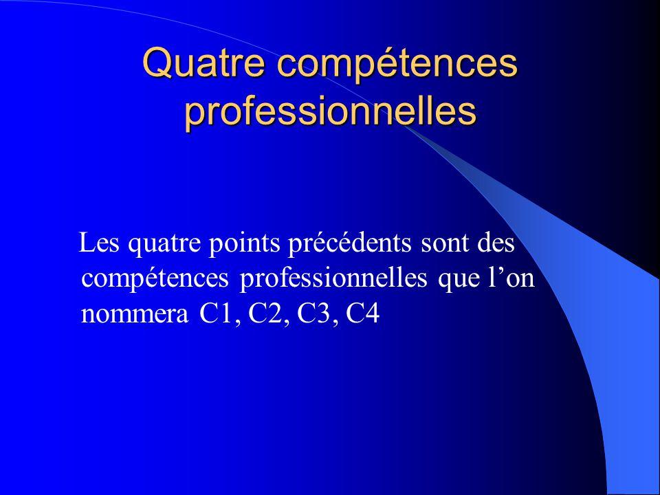 Quatre compétences professionnelles