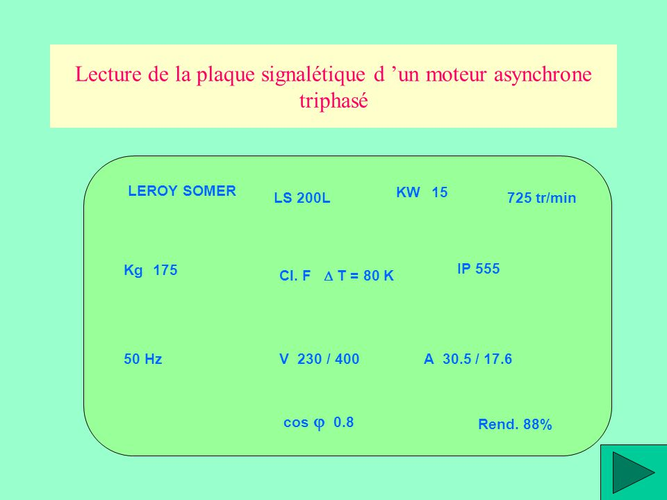 Lecture de la plaque signalétique d 'un moteur asynchrone triphasé