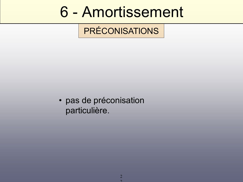 6 - Amortissement PRÉCONISATIONS pas de préconisation particulière.