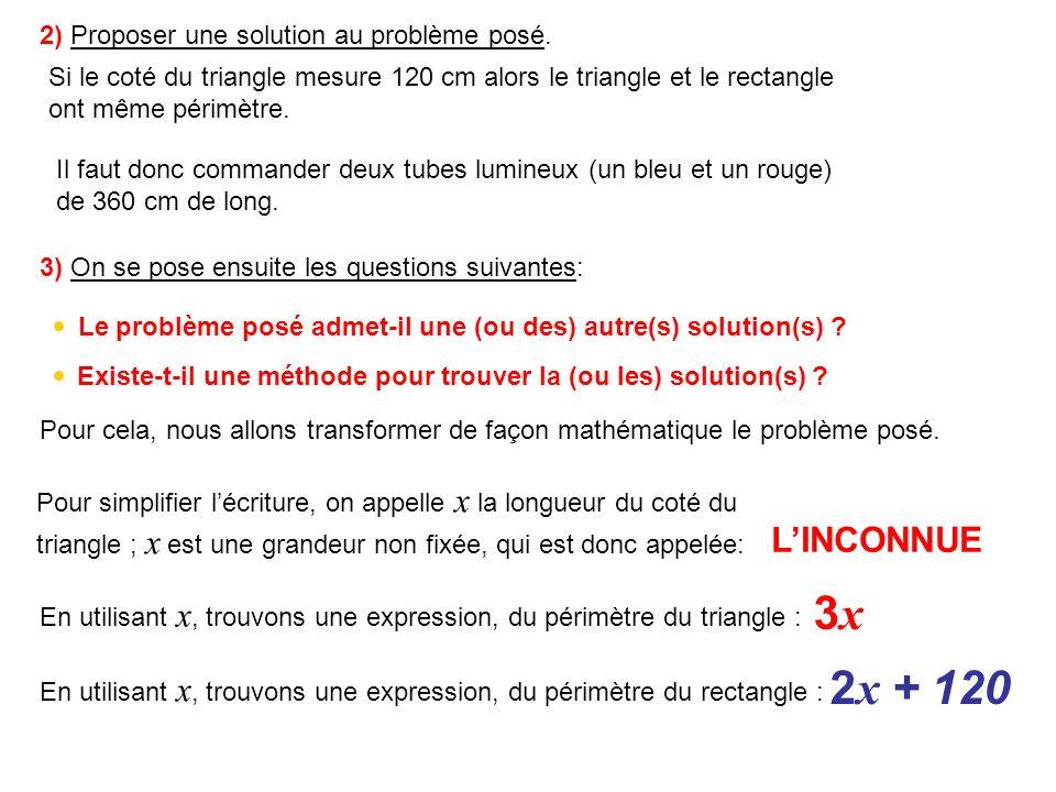 3x 2x + 120 L'INCONNUE 2) Proposer une solution au problème posé.