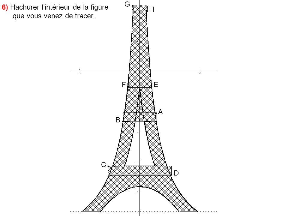 G. .H 6) Hachurer l'intérieur de la figure que vous venez de tracer. F. .E .A B. C. .D