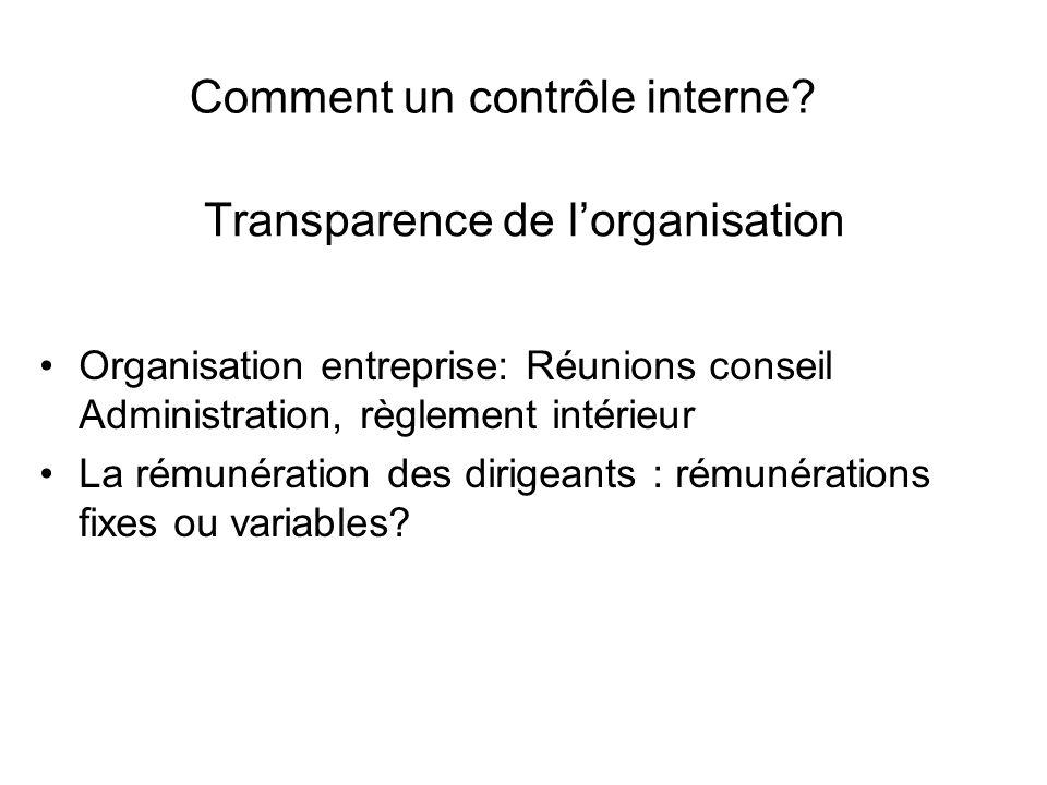 Transparence de l'organisation