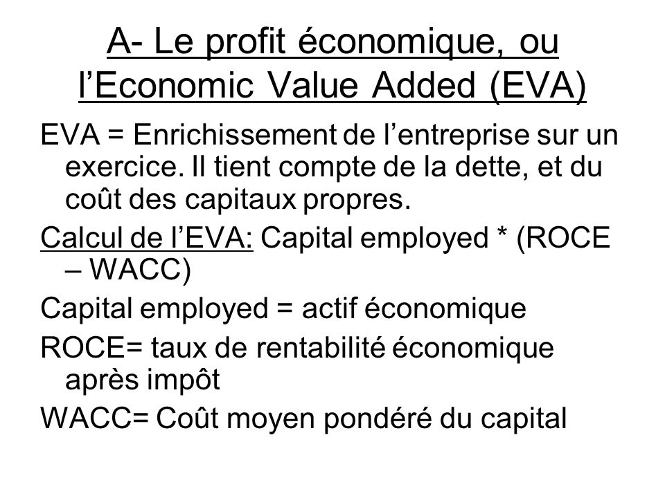 A- Le profit économique, ou l'Economic Value Added (EVA)