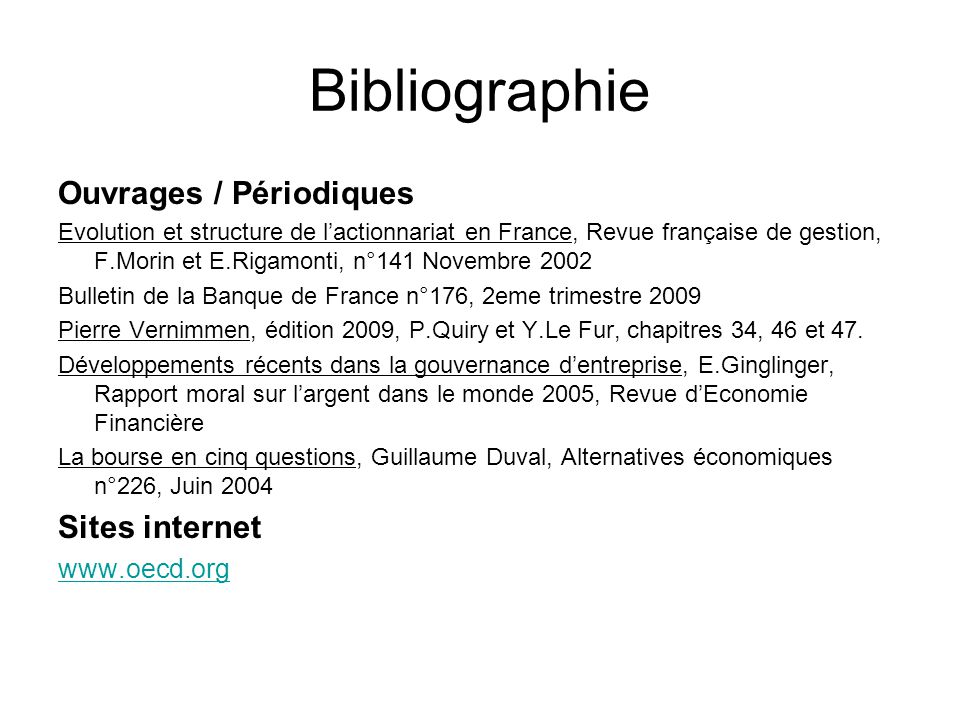 Bibliographie Ouvrages / Périodiques Sites internet www.oecd.org