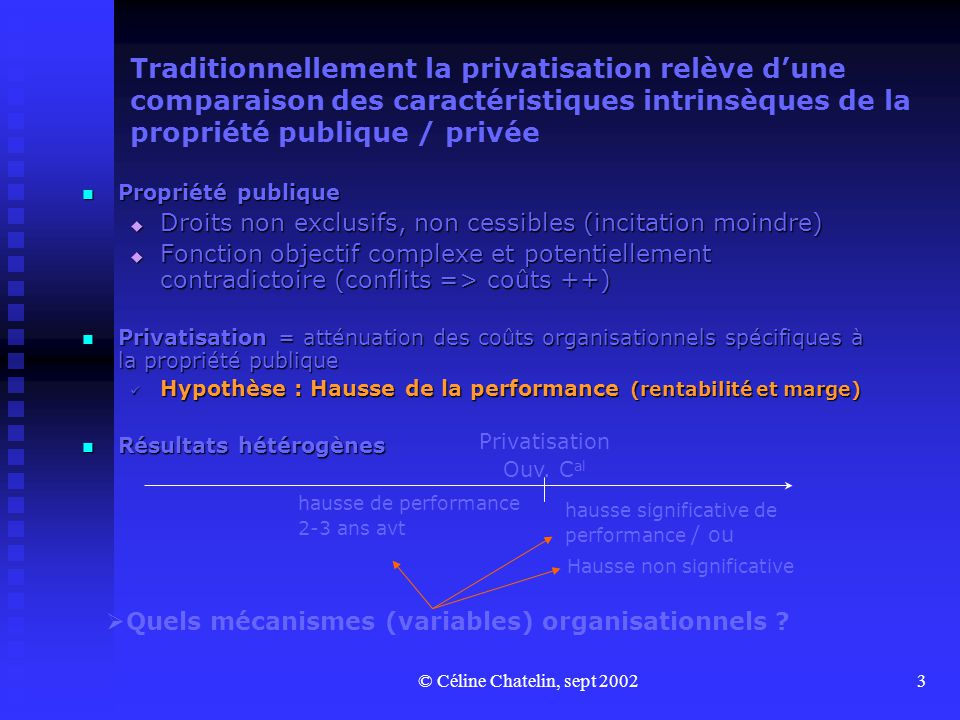 Traditionnellement la privatisation relève d'une comparaison des caractéristiques intrinsèques de la propriété publique / privée