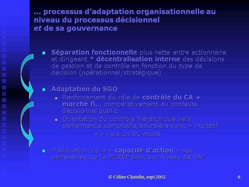 … processus d'adaptation organisationnelle au niveau du processus décisionnel et de sa gouvernance