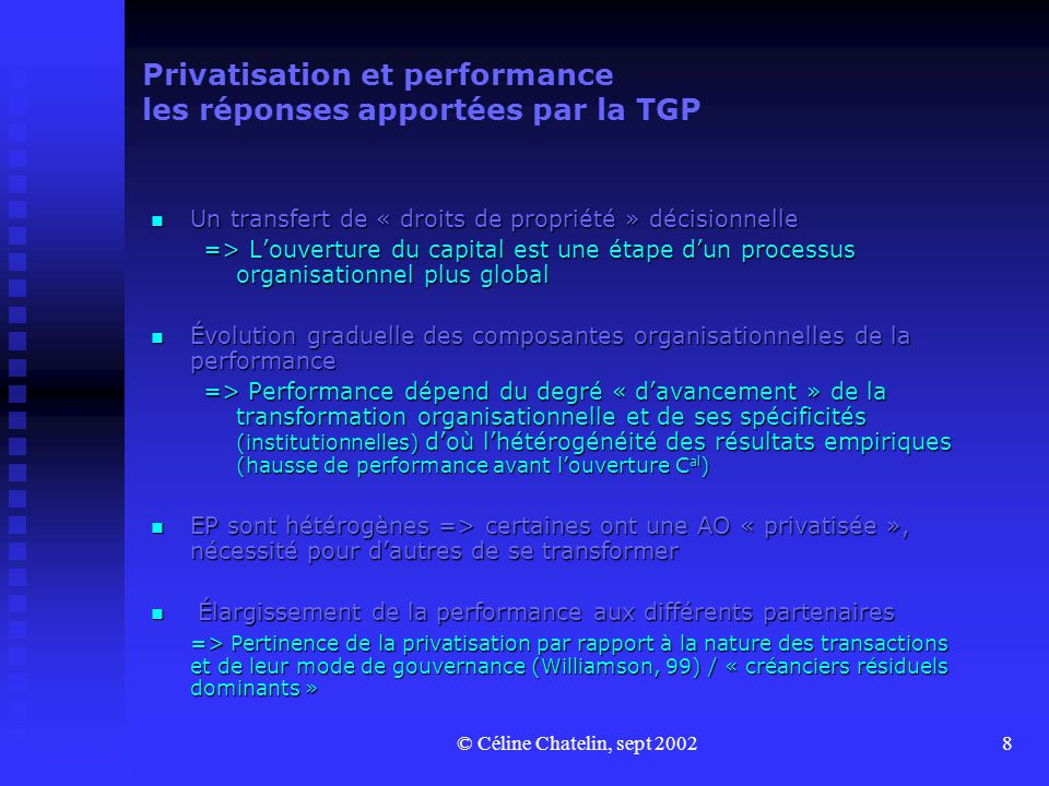Privatisation et performance les réponses apportées par la TGP